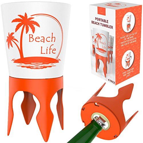 Beach Vacation Accessories Supplies: Beach Drink Cup Holder Sand with Bottle Opener and Spikes (4 Pack) | Spike Coaster Cups - Gear Essentials Stuff Items Necessities Must Haves for Adults Women Men by Beach Life
