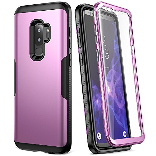 (Galaxy S9+ Plus Case, YOUMAKER Metallic Purple with Built-in Screen Protector Heavy Duty Protection Shockproof Slim Fit Full Body Case Cover for Samsung Galaxy S9 Plus 6.2 inch (2018) - Purple/Black)