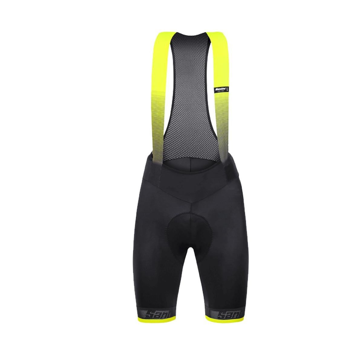 Santini black-yellow 365 Fase Cycling Bib Shorts B07C4VMCCP Medium