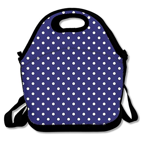 Lcokin Navy Blue and White Spotty Polka Dot Pattern Cute, Thermal,Insulation Lunch Bag - Reusable Work and School Lunch Handbags-Lunch Bags for Women, Men and ()