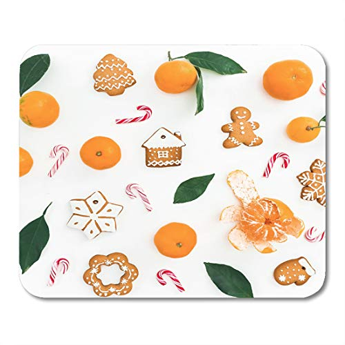 Nakamela Mouse Pads Green Mandarin with Leaves Candy Cane and Gingerbread on White Flat Lay Top View New Year Composition Mouse mats 9.5