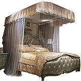 U-Guide Mosquito net Princess Style Mosquito net encryption Thickening Mosquito net Children's Mosquito net Bedding, Light Brown, 180220cm