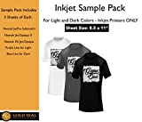 Inkjet Iron On Heat Transfer Paper Sample Pack 8.5x11'' for Light and Dark