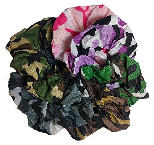 Camo Scrunchie Set - 6 Camouflage Scunchies (Fashion Camo Assortment)