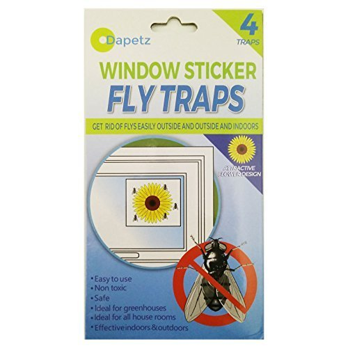 Dapetz 4 fly traps fly killer sunflower window fly sticker trap stickers insects