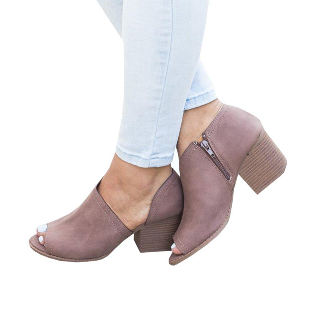 ccbebf39032cd Amazon.com | Fashare Womens Peep Toe Bootie Cutout Low Stacked Heel ...