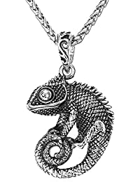 """Men Punk 18K Gold Plated Chameleon Cool Animal Pendant With 22"""" Chain"""