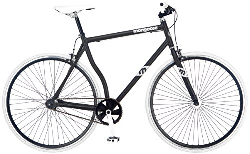 Mongoose Men's R4044WMA 700c Detain Fixie Bike, Matte Black