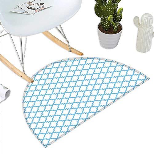 (Quatrefoil Semicircle Doormat Trellis with Asian Ikat Effects and Grungy Look Moorish Ethnic Lattice Halfmoon doormats H 23.6