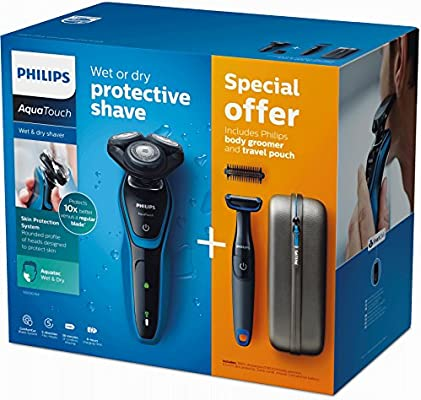 Philips AquaTouch - Afeitadora (Máquina de afeitar de rotación, SH50, 2 año(s), Negro, Azul, LED, Batería): Amazon.es: Salud y cuidado personal