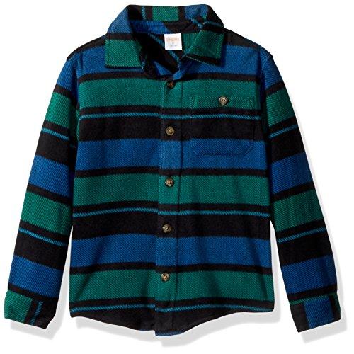 - Gymboree Boys' Toddler Long Sleeve Polar Fleece Stripe Knit Shirt, Green/Blue, 2T