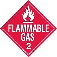 Labelmaster Z-EZ8 Flammable Gas Hazmat Placard, Worded, E-Z Removable Vinyl (Pack of 25)