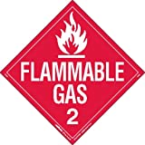Labelmaster Z-EZ8 Flammable Gas Hazmat Placard, Worded, E-Z Removable Vinyl (Pack of 25)
