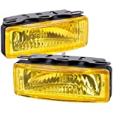 "Universal 5"" x 2.5"" Square Yellow Lens Fog Light Kit with Switch and Wires"