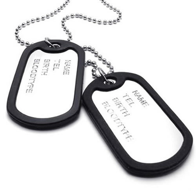 KONOV Joyería Collar con Colgante de hombre mujer, Dog Tag, Placa Nombre Militar, Cadena 68cm, Aleación, Color negro plata (con bolsa de regalo) KONOV