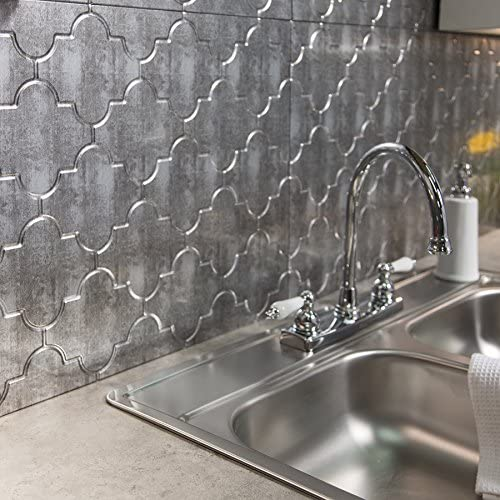 Fasade Easy Installation Monaco Crosshatch Silver Backsplash Panel for  Kitchen and Bathrooms (18\
