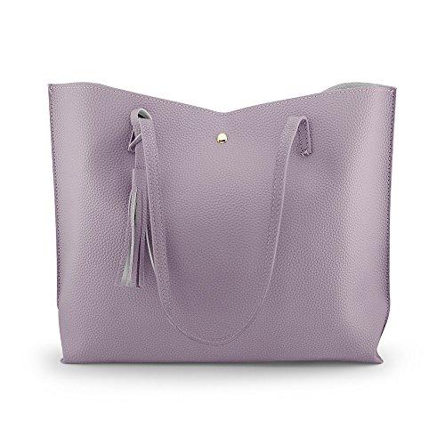 te Bag - Tassels Faux Leather Shoulder Handbags, Fashion Ladies Purses Satchel Messenger Bags - Purple ()