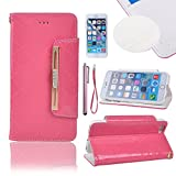 iPhone 6 Plus Case,OutProof iPhone 6 Plus Case 5.5 Inch Leather Case Slim Wallet Book Cover +plus Stand Feature with Credit Card ID Holders for iPhone 6 Plus [Pink]