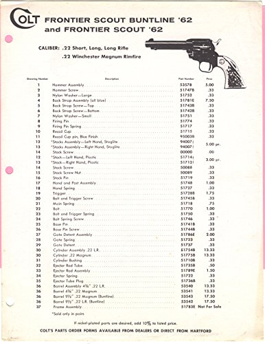 Colt Frontier Scout Buntline '62 and Frontier Scout '62 Revolver Parts List