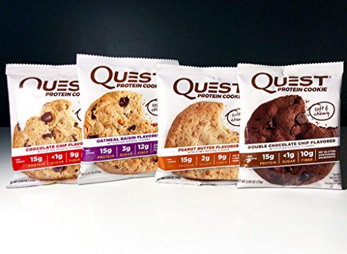 Quest Protein Cookie Variety Pack Oatmeal Raisin , Double Chocolate , Peanut Butter , Chocolate Chip NEW (12 Pack Variety)