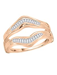 Baguette Cut Diamond Ring Guard in 14K Rose Gold (1/3cttw)(Color-GH-I1 Clarity) (Size-6.5)