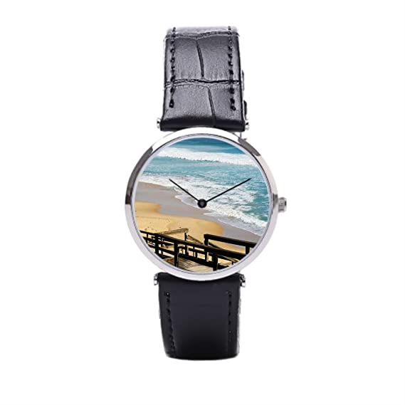 sjfy para hombre correa de piel relojes marea alta marea playa correa de piel reloj