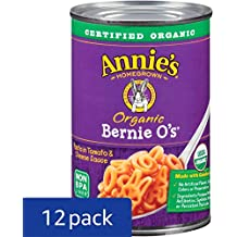 Annie's Organic Canned Pasta, Bernie O's, Pasta in Tomato & Cheese Sauce, 15 oz (Pack of 12)