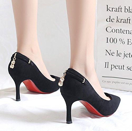 Aisun Pointues Sexy Basse Breloque Femme Noir Escarpins xrvtaxq