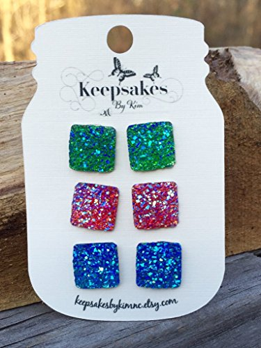 Springtime Setting (Green, Pink, and Blue Square Glitter Faux Druzy Stud Earrings (Set of 3))