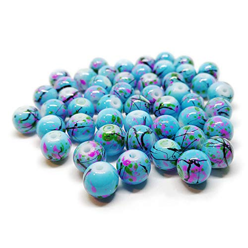 BSI - 50pcs Mix Artistic Designs Lampwork Glass Round Beads 8mm ~ Loose Beads~ (Blue Ceramic Marble) ()