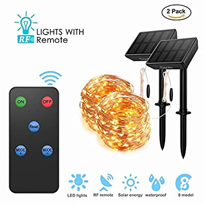 Solar Powered String Lights with Remote, 100 LEDs 33 ft Copper 8 Modes Fairy Lights, Outdoor Waterproof Decorative Lights for Christmas Garden Patio Wedding Party Tree Decor, Warm White Light by DAOTS