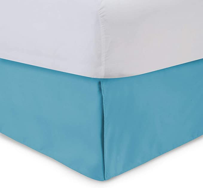 Tailored Bed Skirt 14 Inch Drop Aqua King Bedskirt With Split Corners Available In And 16 Colors Blissford Kitchen Dining Amazon Com