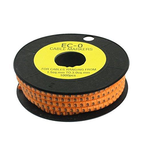 Arabic Markers - EbuyChX 1000pcs EC-0 1.5-3mm2 Arabic Numeral 3 Print Cable Marker Label Orange