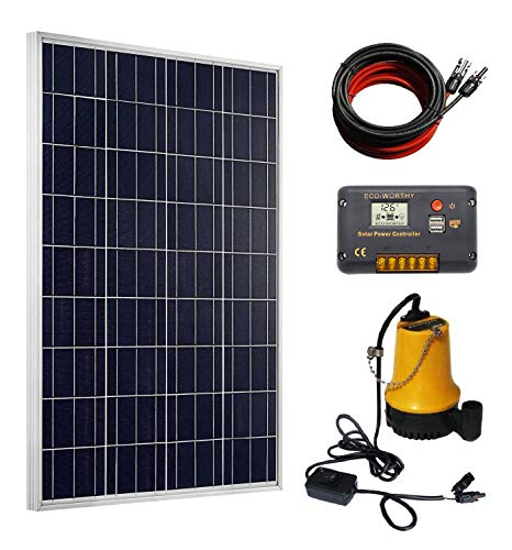 ECO-WORTHY Solar Well Pump Kit - 100 Watts Poly Solar Panel & 12V Water Pump with 20A Charge Controller for Pond, Fountain, Water Feature, Hydroponics, Aquarium, Aquaculture, Solar Pond Pump ()