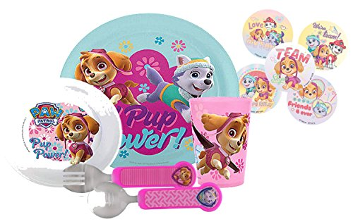 Zak! Designs Todderific Mealtime Set Includes 8 inch round Plate, Bowl, Fork, Spoon & Tumbler Cup! Featuring Paw Patrol Girl Pups Skye & Everest! BPA-free, 5 Pc Set