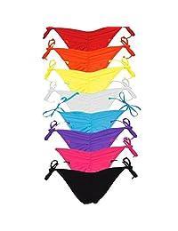 FITTOO Braguitas Tangas Parte Inferior Traje de baño Mujer Alta Elasticidad Color Sólido Talla Grande Colores Varias Bikini Vendaje 840