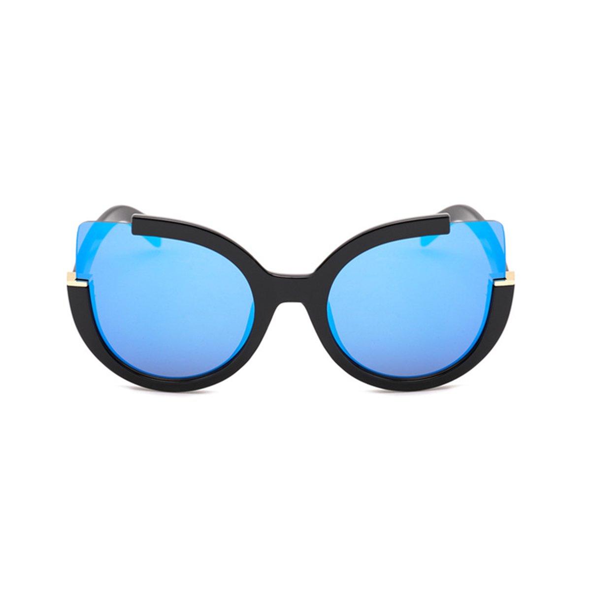 21a812ea0 Amazon.com: Supertrip Womens Fashion Oversized Round Square Plastic Vintage  Cut-Out Flash Mirror Lens Cat Eye Sunglasses (black-blue): Clothing