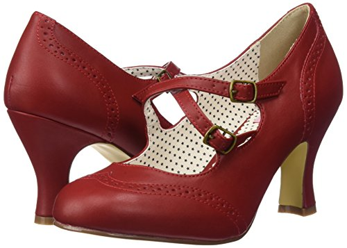 35 Mujer Couture Up Zapatos Faux Punta Con Flapper Cerrada Leather Rot Para Tacón Pin De red nxtRPdPw