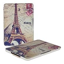kwmobile Funda para Amazon Kindle Paperwhite - eReader Case de cuero sintético - Con tapa E-book reader Flip style Diseño Torre Eiffel y Lovre gris blanco