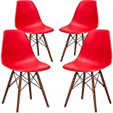 Poly and Bark EM-105-WAL-RED-X4 Eames Style DSW Side Chair with a Walnut Base (Set of 4), Red