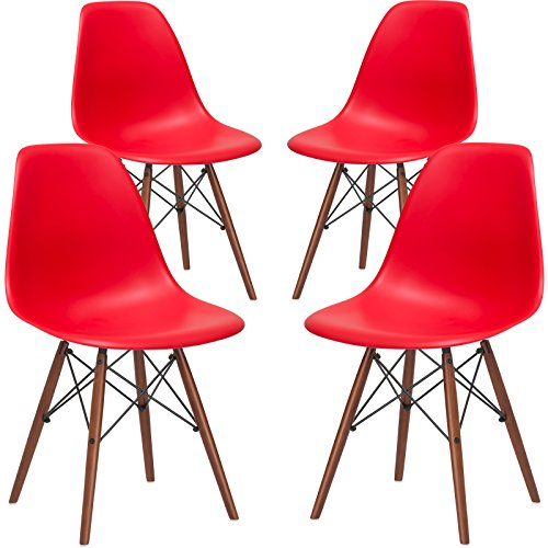 Awe Inspiring Poly And Bark Vortex Modern Mid Century Side Chair With Wooden Walnut Legs For Kitchen Living Room And Dining Room Red Set Of 4 Beatyapartments Chair Design Images Beatyapartmentscom