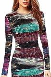 Hokny TD Womens Workwear Printed Crewneck Bodycon Sexy Pencil Dress 1 XS