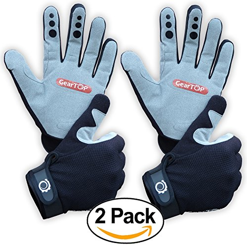 Mountain Biking Gloves - Great for Cycling, Performance Specialized Bike for Women and Men (BLack-Grey, 2 Pack - 1 Medium 1 (Ride Stretch Gloves)