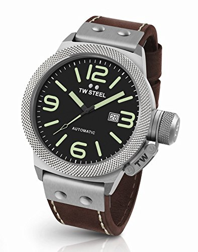 TW Steel Men's CS25 Stainless Steel Watch with Brown Leather Band