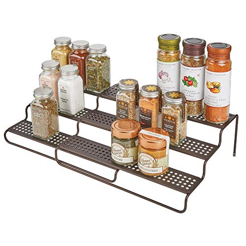 mDesign Adjustable, Expandable Kitchen Wire Metal Storage Cabinet, Cupboard, Food Pantry, Shelf Organizer Spice Bottle Rack Holder - 3 Level Storage - Up to 25 Wide - Bronze