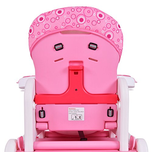 Costzon 3 in 1 Infant High Chair Convertible Play Table Seat Booster with Feeding Tray (Pink) by Costzon (Image #5)