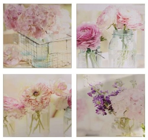 4 Piece Flower Print Canvas Wall Art Shabby Chic Rose Decor