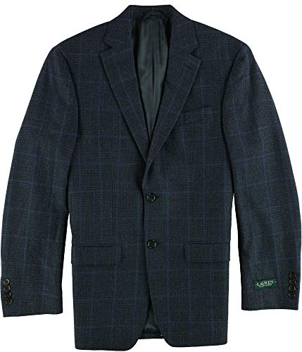 LAUREN RALPH LAUREN Mens Wool Check Print Two-Button Blazer Navy 36R