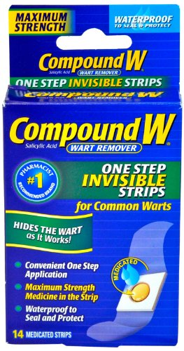 Compound W One Step Invisible Strips Wart Remover Medicated Strips, 14 Count