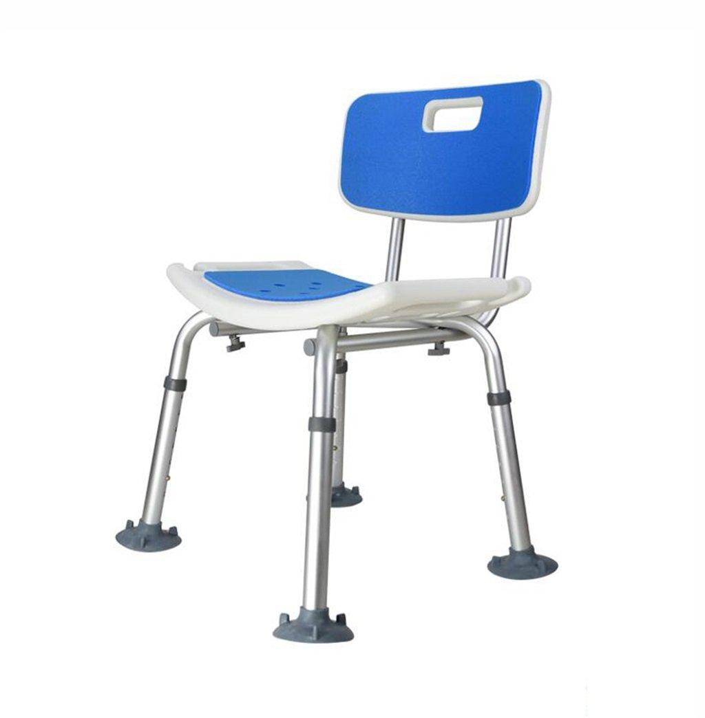 高齢者のためのバスチェアとアルミ合金シャワーシートスツール妊婦レッグシャワー付きスツール調節可能な高さ調節可能な椅子、大きな滑り止めマット付き - 耐荷重136kg B07DQP3KDW